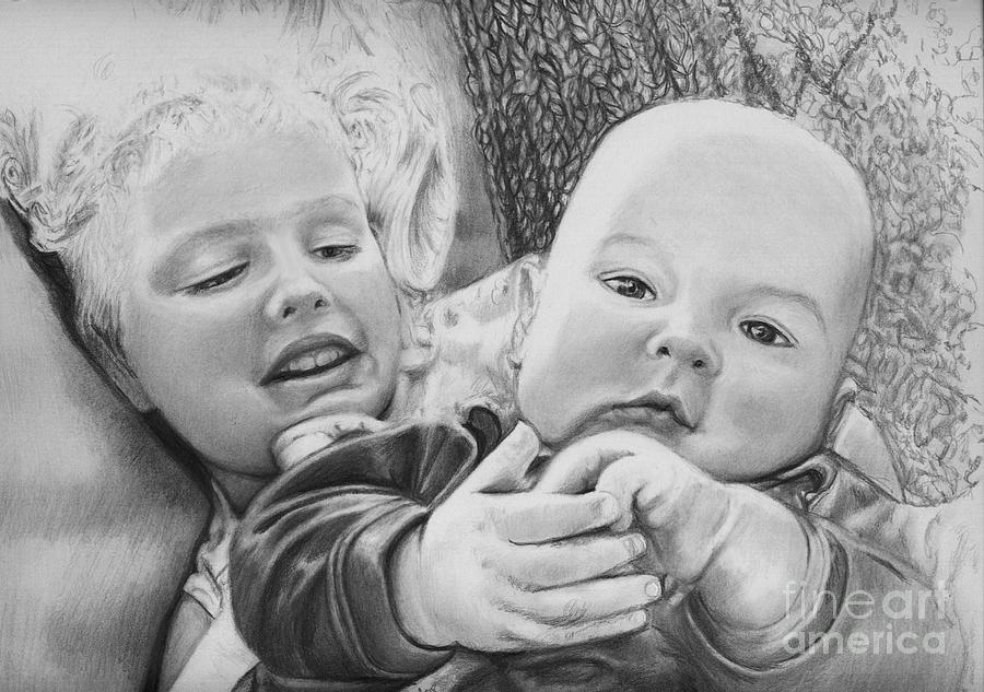Babies Drawing - Brynn And Austin by Carliss Mora