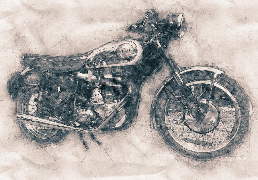 Bsa Gold Star Mixed Media - Bsa Gold Star - 1938 - Motorcycle Poster - Automotive Art by Studio Grafiikka