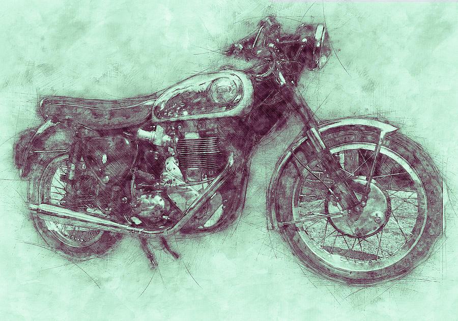 Bsa Gold Star 3 - 1938 - Motorcycle Poster - Automotive Art Mixed Media