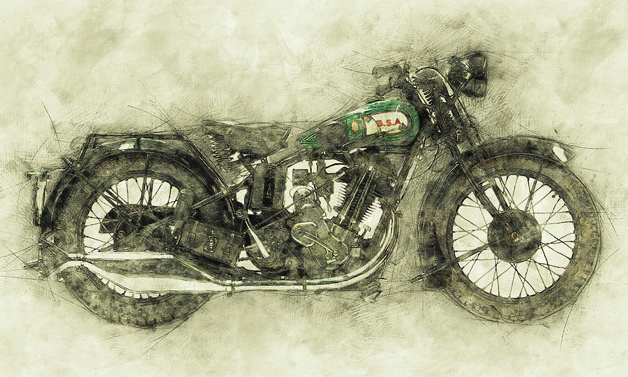 Bsa Sloper 1 - 1927 - Vintage Motorcycle Poster - Automotive Art Mixed Media