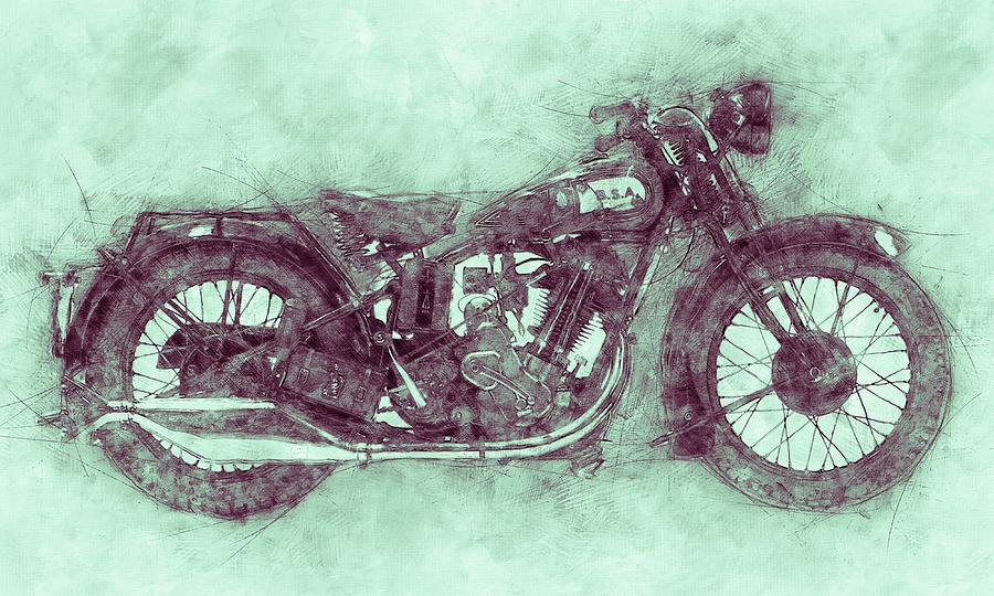 Bsa Sloper 3 - 1927 - Vintage Motorcycle Poster - Automotive Art Mixed Media