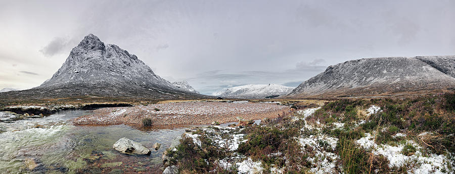 Mountain Photograph - Buachaille Winter Panorama by Grant Glendinning