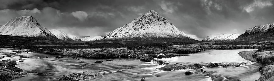 Mountain Photograph - Buachaille Winter Panorama Mono by Grant Glendinning