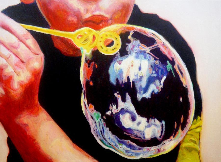 Bubble Painting - Bubble by Lizzie  Johnson