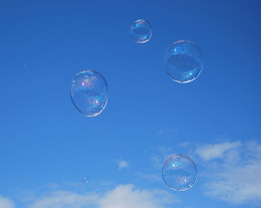 Bubbles Photograph - Bubble Play by Marilynne Bull