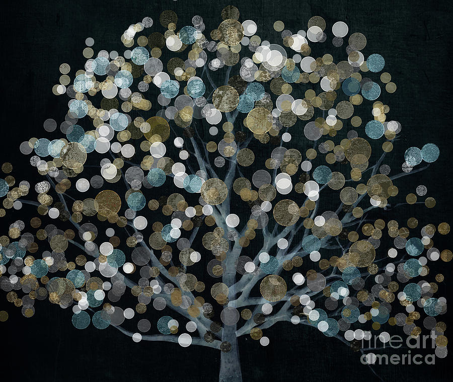 Tree Painting - Bubble Tree Night by Mindy Sommers
