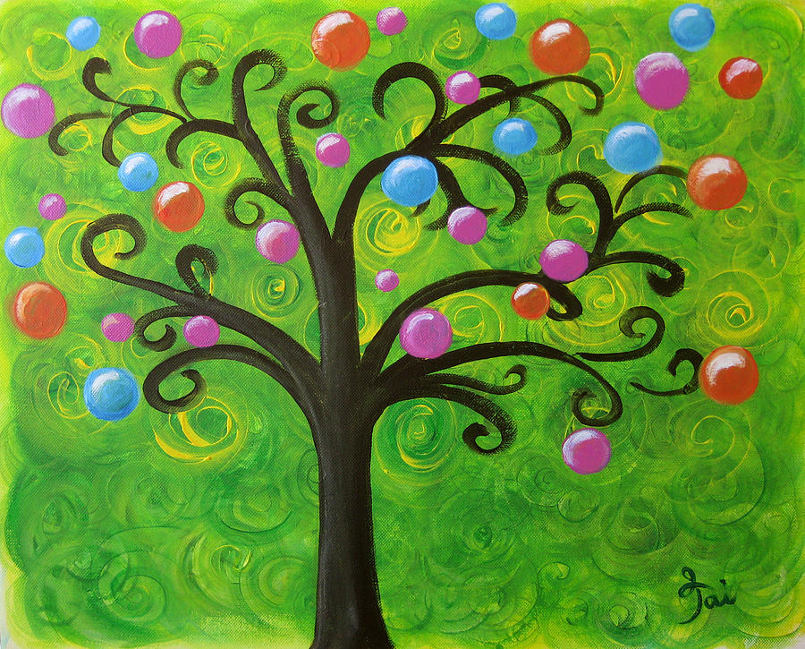 Tree Painting - Bubble Tree by Oiyee At Oystudio