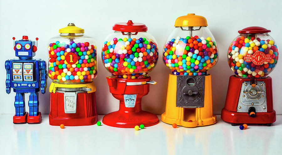 Candy Photograph - Bubblegum Machines And Robot by Garry Gay