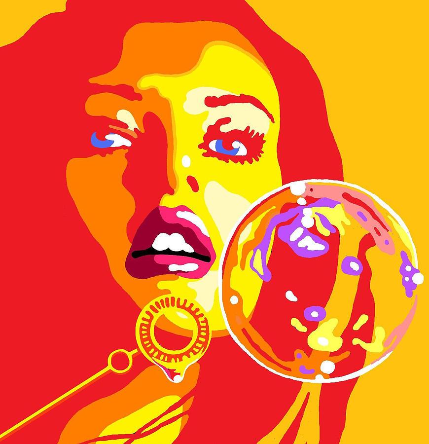 Woman Digital Art - Bubbles 2 by Heli Luukkanen