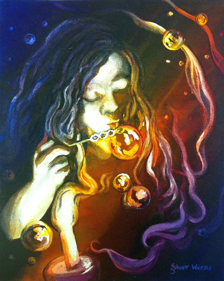 Bubbles Painting - Bubbles By Night by Starr Weems