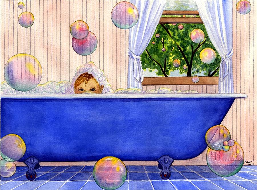 Bath Painting - Bubbles by Catherine G McElroy