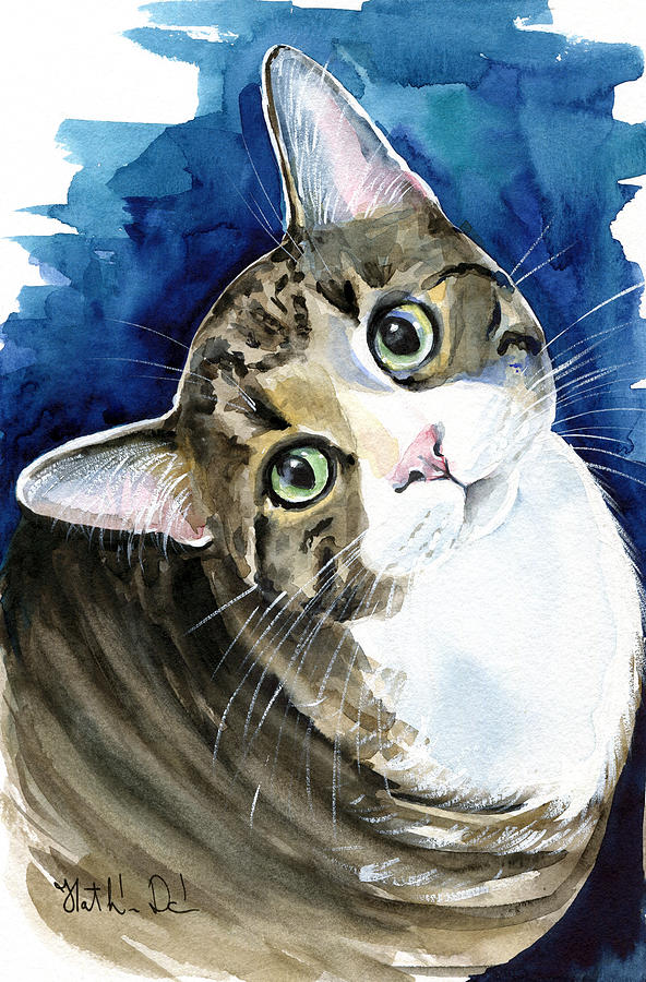 Bubbles Painting - Bubbles - Tabby Cat Painting by Dora Hathazi Mendes
