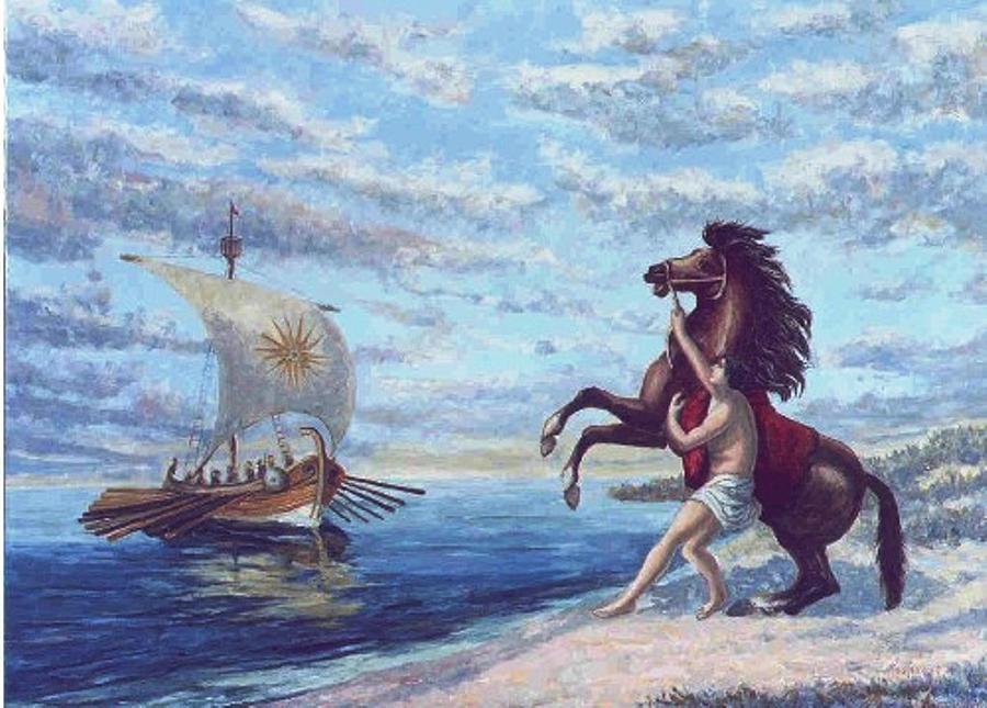 Macedonia Painting - Buchefalus  by Charalampos Laskaris