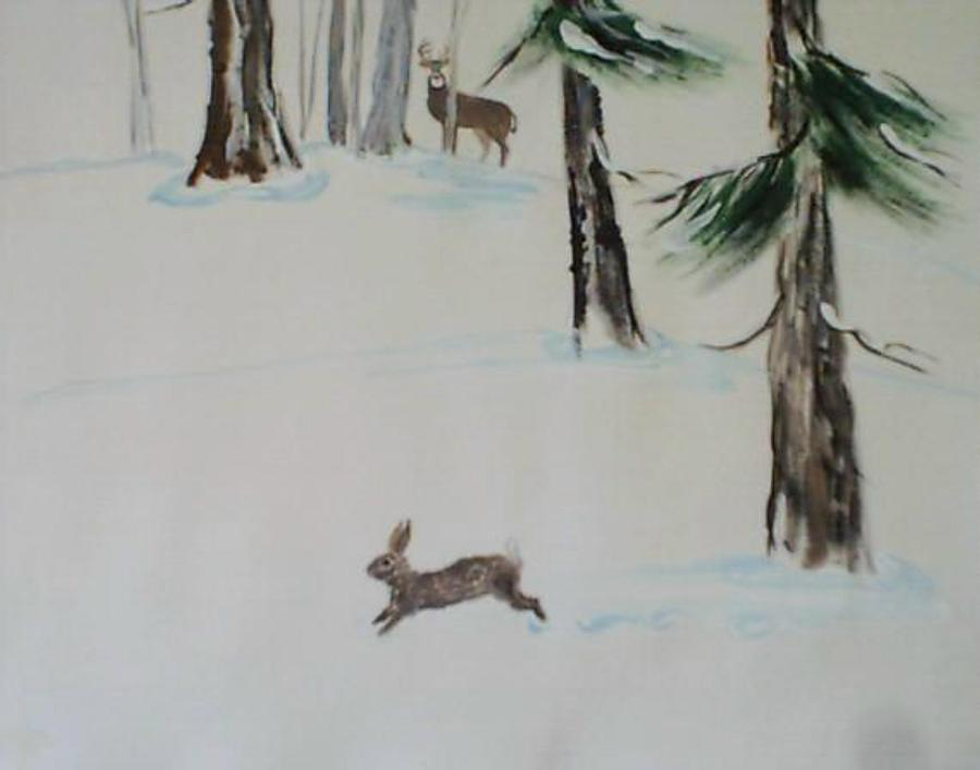 Buck Painting - Buck And Rabit In The Snow by B L Qualls