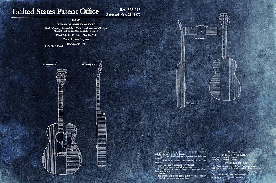 Musical Instrument Mixed Media - Buck Owens Guitar Patentt by Dan Sproul