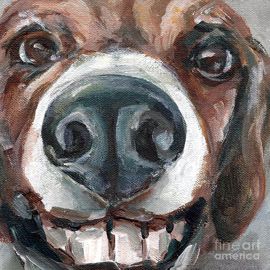 Dog Painting - Buck-toothed Beagle by Linda Vespasian