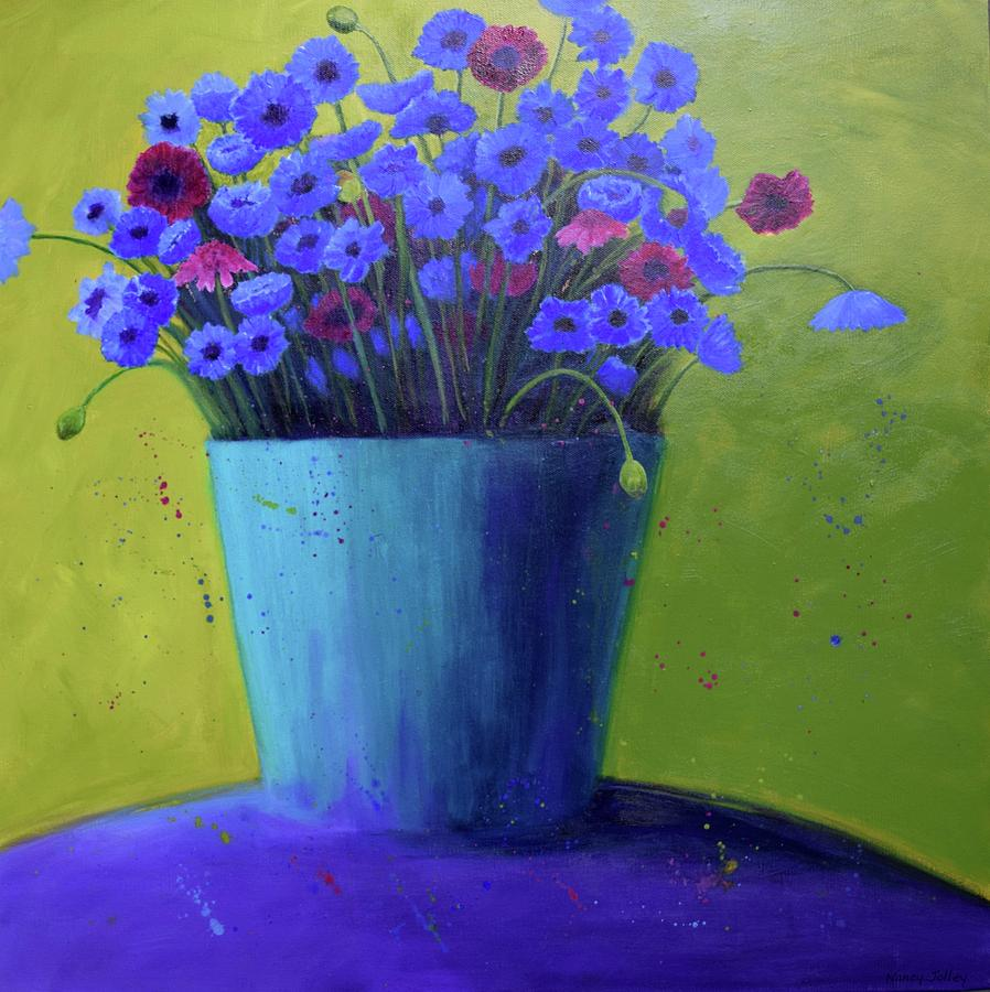 Flowers Painting - Bucket Of Blue by Nancy Jolley