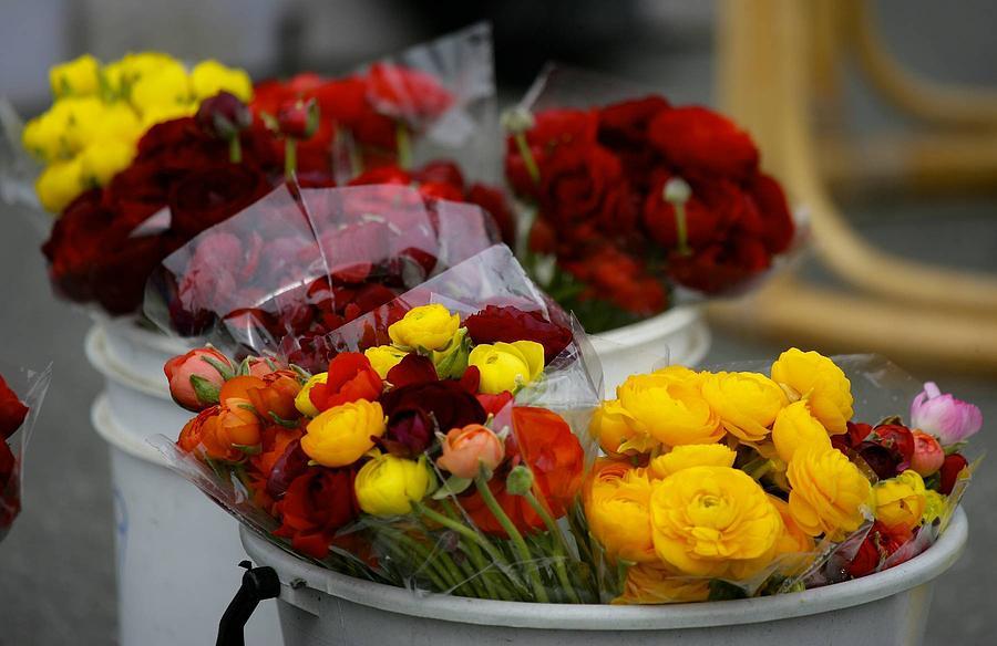 Market Photograph - Bucket Of Flowers by Joyce Sherwin