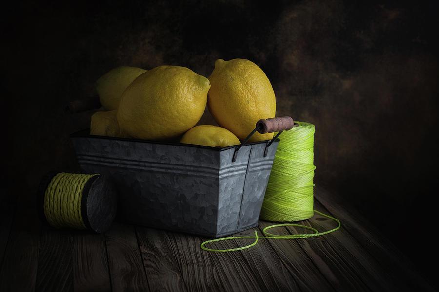 Citrus Photograph - Bucket Of Lemons by Tom Mc Nemar