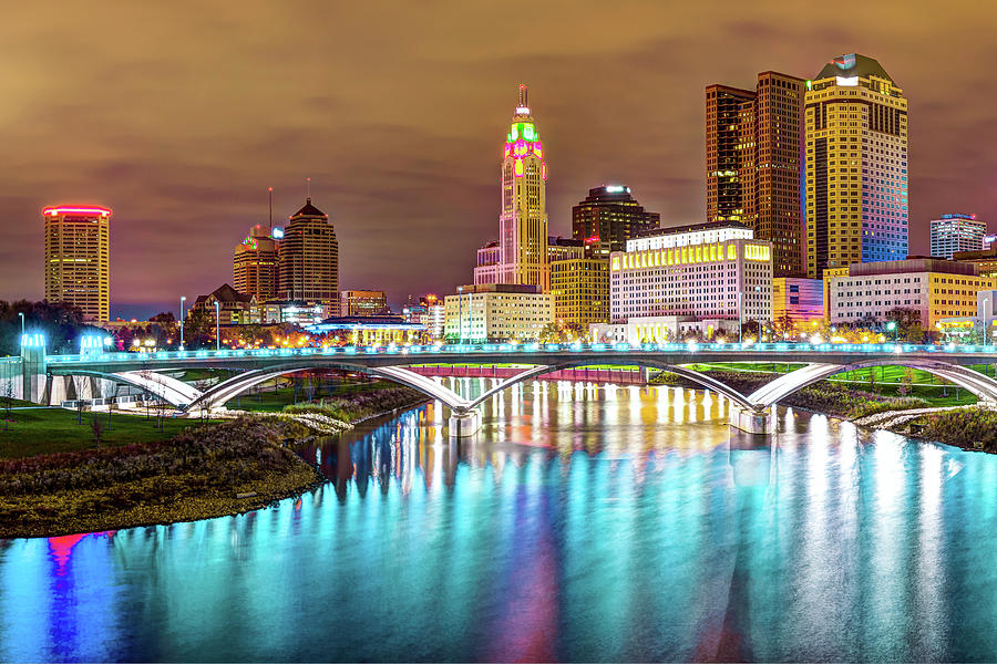 America Photograph - Buckeye Skyline - Columbus at Night on the Water by Gregory Ballos