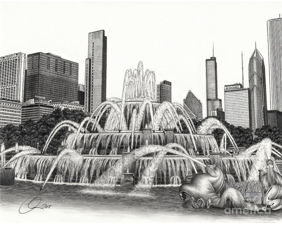 Buckingham fountain drawing by Omoro Rahim