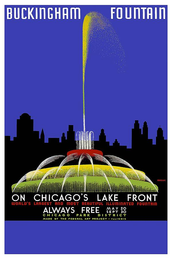 Buckingham Fountain Vintage Travel Poster Painting