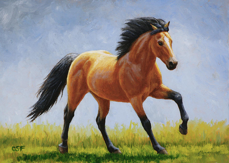 Horse Painting - Buckskin Horse - Morning Run by Crista Forest