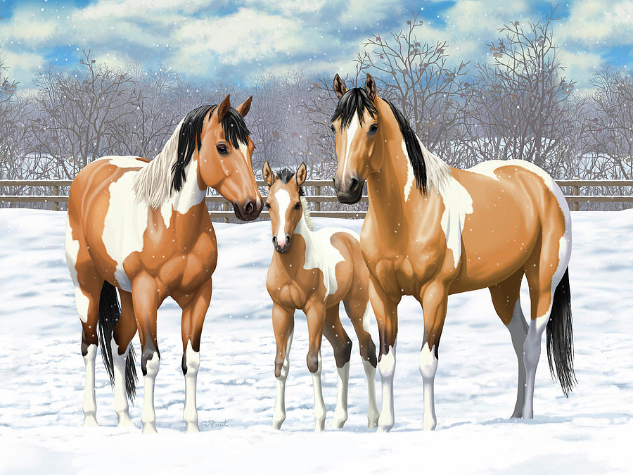 Horses Painting - Buckskin Paint Horses In Winter Pasture by Crista Forest