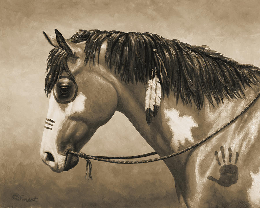 Horse Painting - Buckskin War Horse In Sepia by Crista Forest