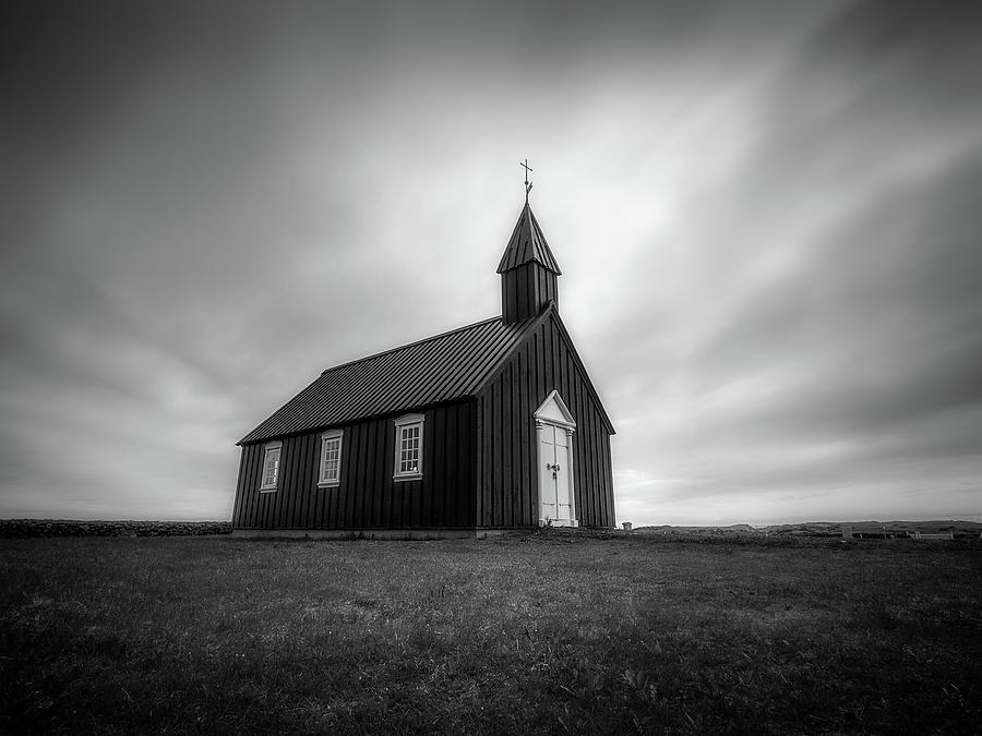 Budakirkja church monochrome by Roelof Nijholt