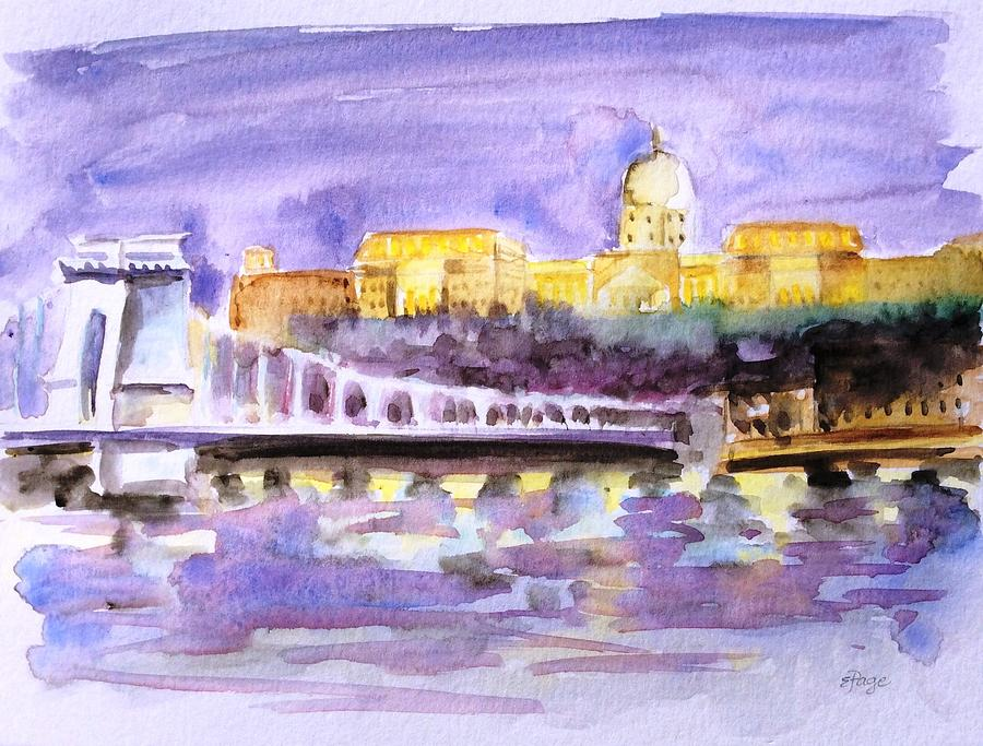 Budapest Painting - Budapest At Night by Emily Page