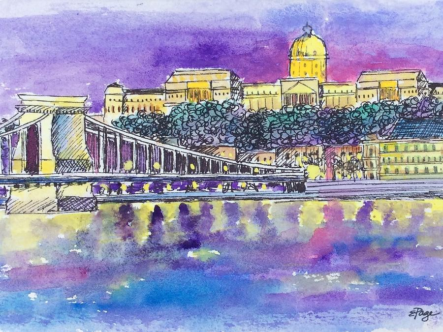 Budapest Painting - Budapest at Night II by Emily Page