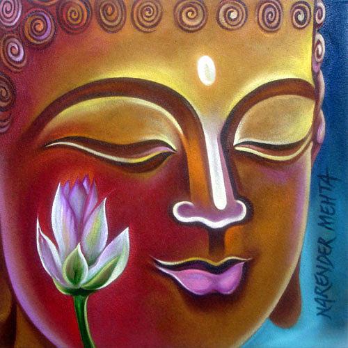 Buddha Painting - Buddha-4 by Narender Mehta