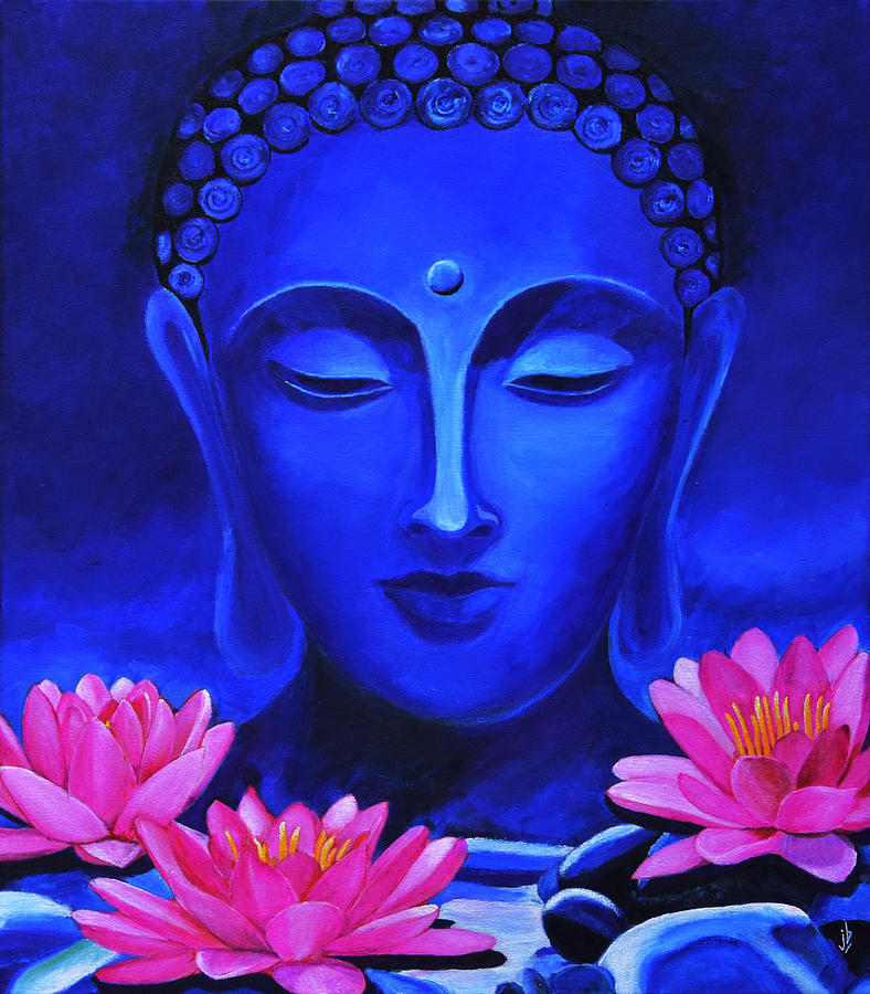 Buddha And Lotus Flowers Painting By Jasmine Bharathan