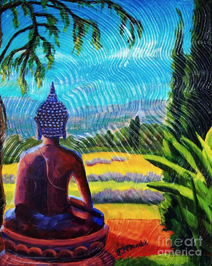 Buddha Atop the Lavender Farm by Janet McDonald