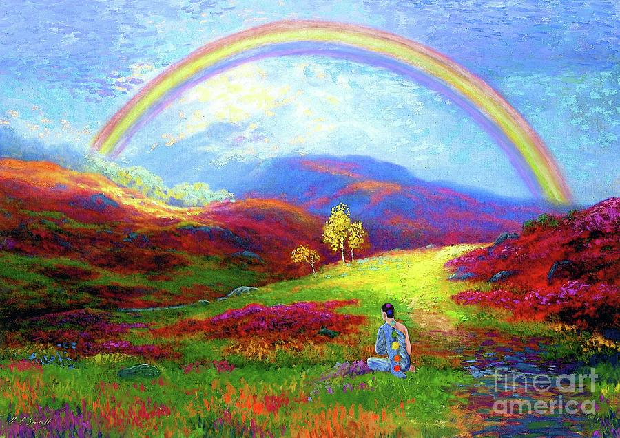 Meditation Painting - Buddha Chakra Rainbow Meditation by Jane Small