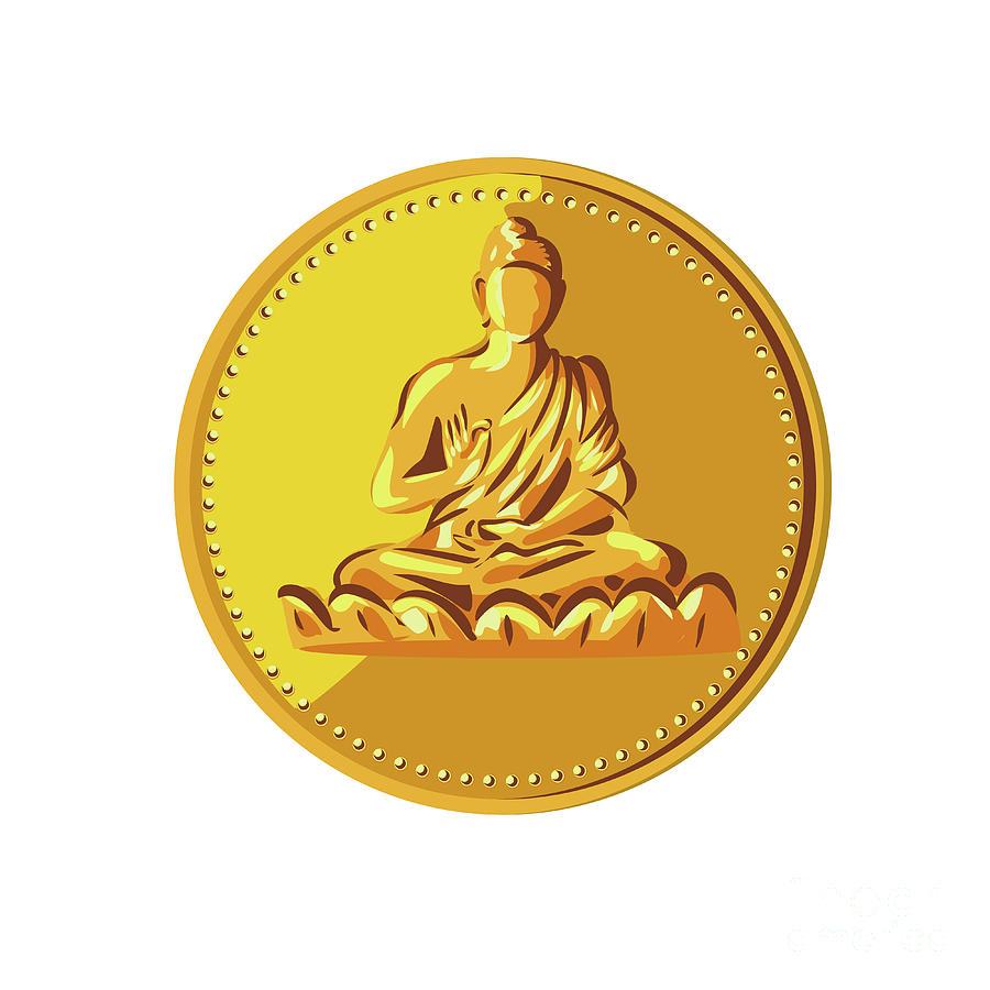 Buddha Gold Coin Medallion Retro Digital Art by Aloysius Patrimonio