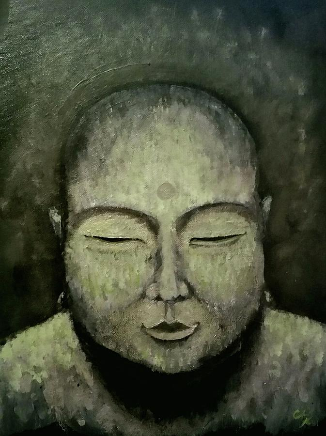 Buddha Painting - Buddha In Green by Carole Hutchison