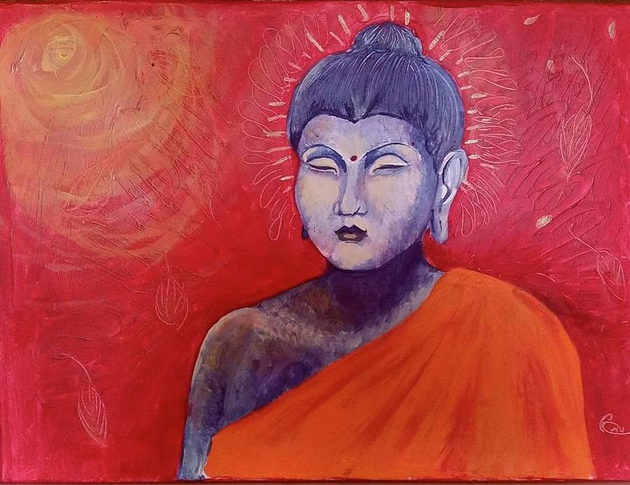 Buddha In Red Painting by Carole Hutchison