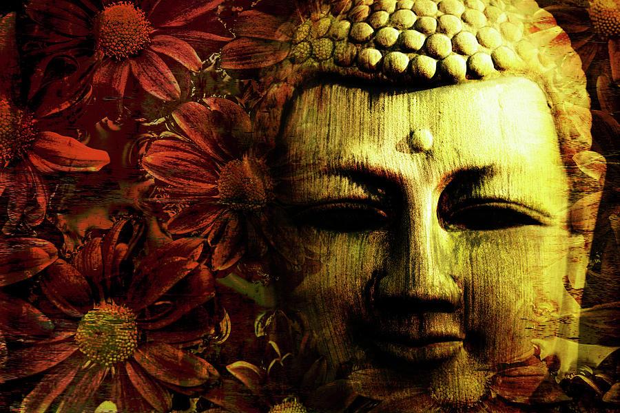 Buddha Photograph - Buddha In Red Chrysanthemums by Skip Nall
