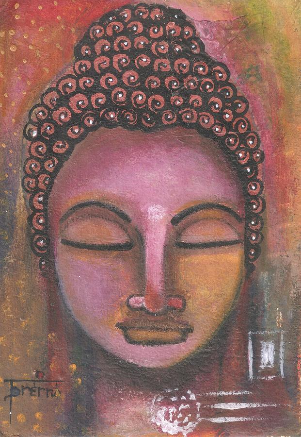Buddha Mixed Media - Buddha In Shades Of Purple by Prerna Poojara