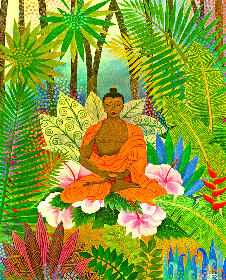 Buddha in the Jungle Painting by Jennifer Baird