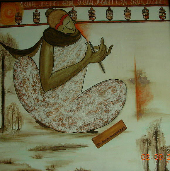 Buddha Painting - Buddha With Manuscript by Devyani Parikh