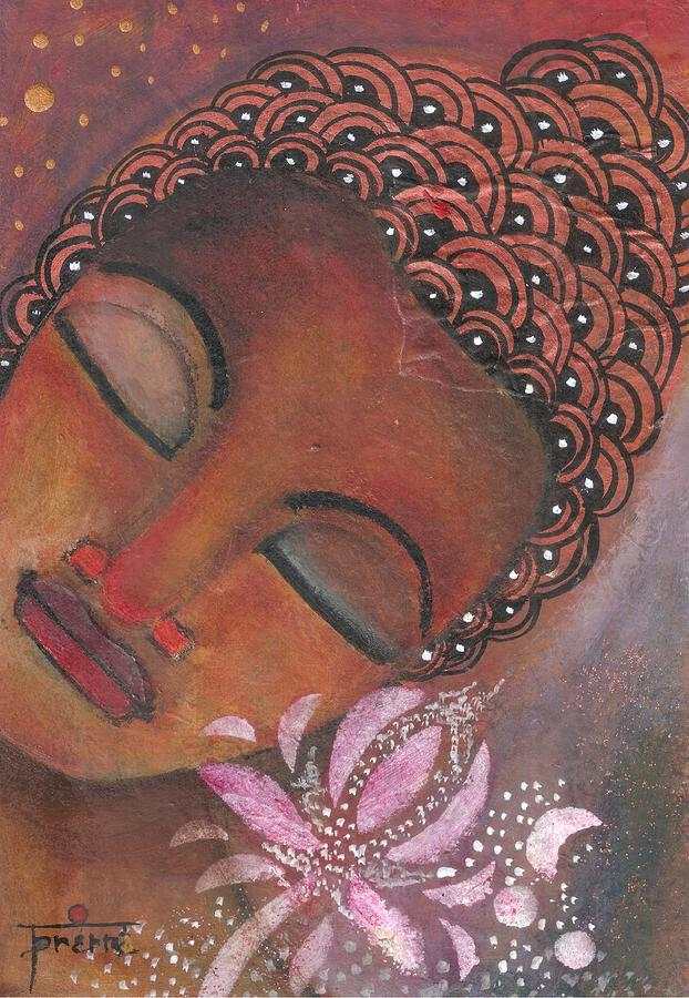 Buddha Painting - Buddha With Pink Lotus by Prerna Poojara