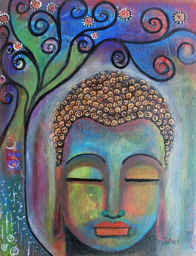 Buddha Painting - Buddha With Tree Of Life by Prerna Poojara