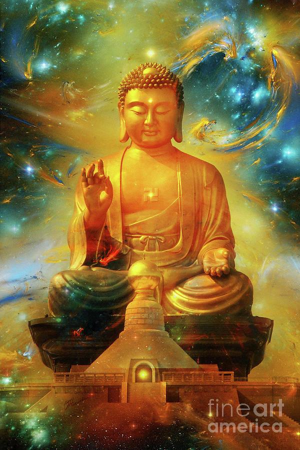 Buddha Eternity Zen Art Mixed Media by Olga Hamilton