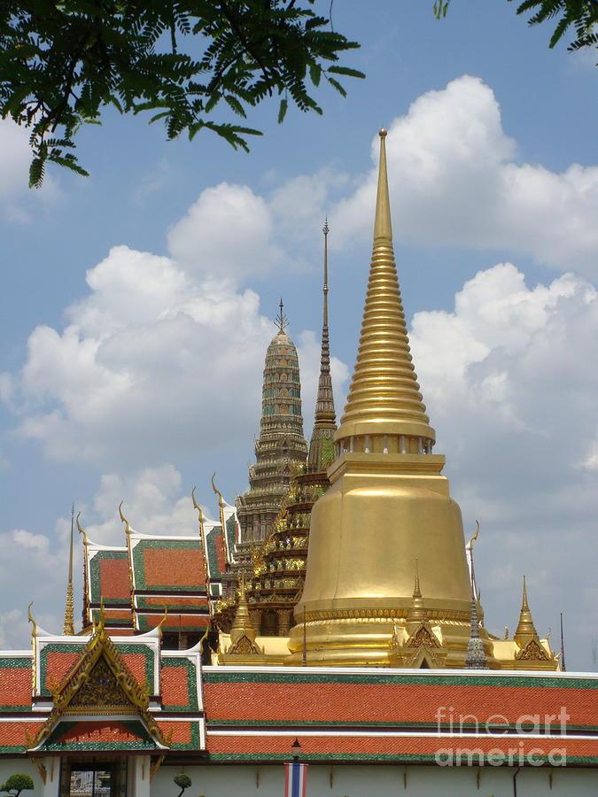 Buddhist Photograph - Buddhist Chedi - Bangkok by Mike Holloway