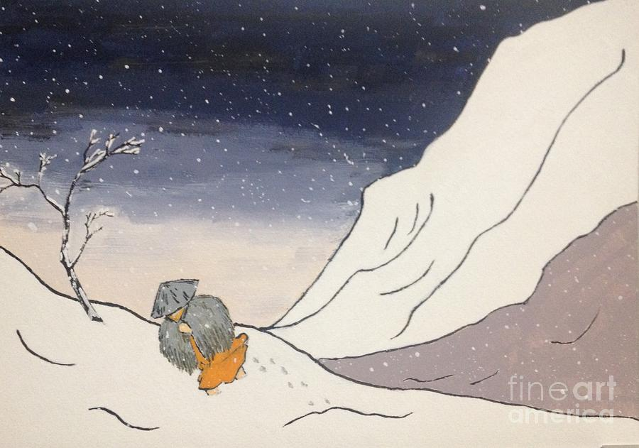 Japanese Artist Painting - Buddhist Cleric Nichiren and Bleak Winter in Exile by Sawako Utsumi