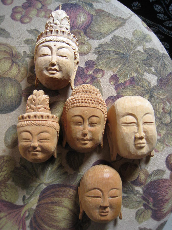 Carving Sculpture - Buddhist Figurine Faces by Braven Smillie