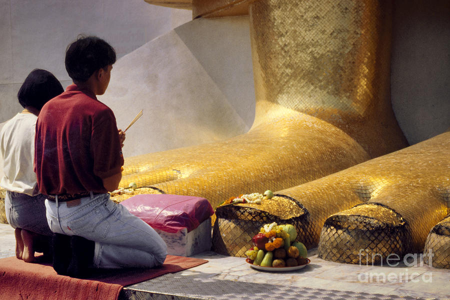 Buddhist Thai People Praying Photograph